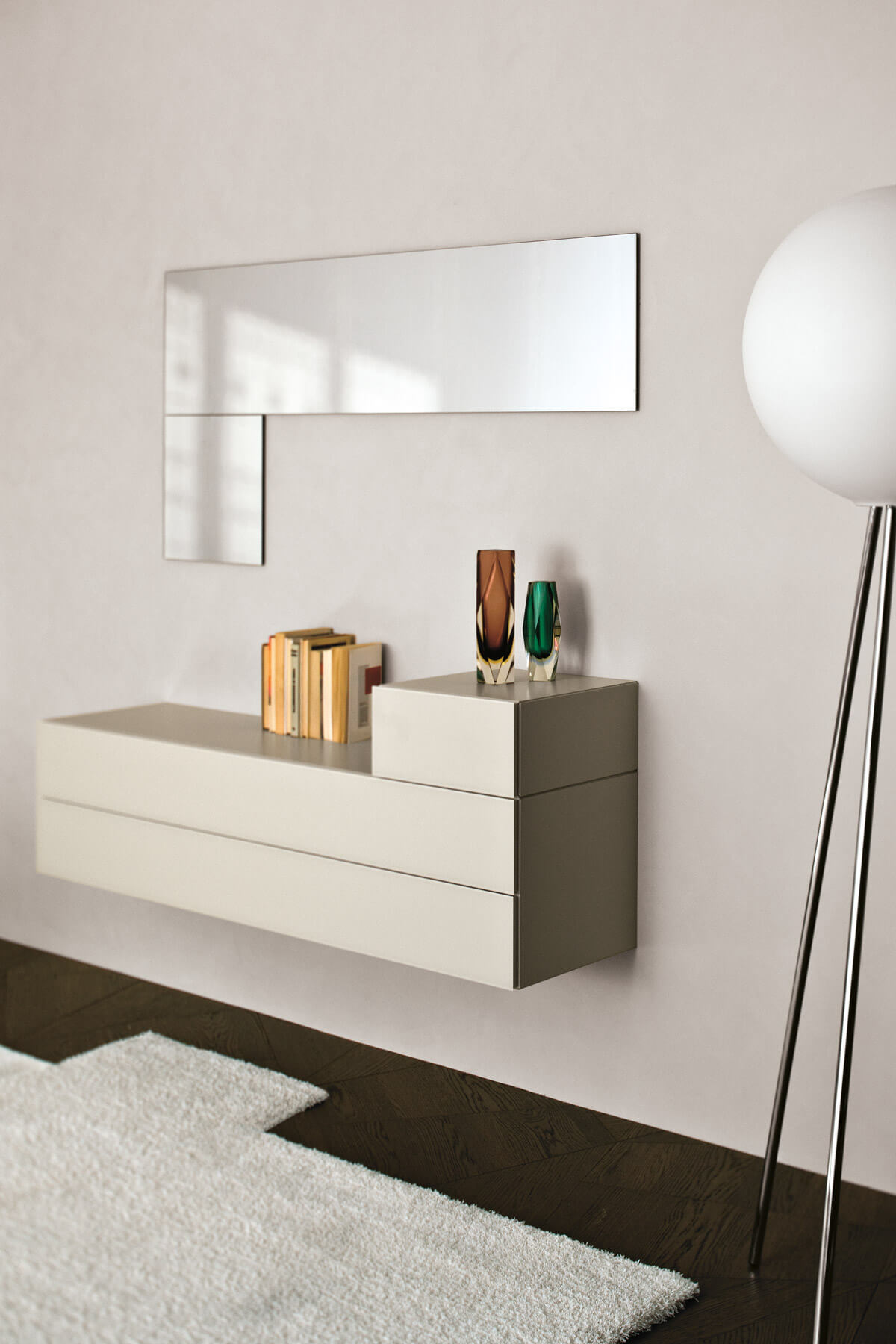 White Bedside Table with Carpet