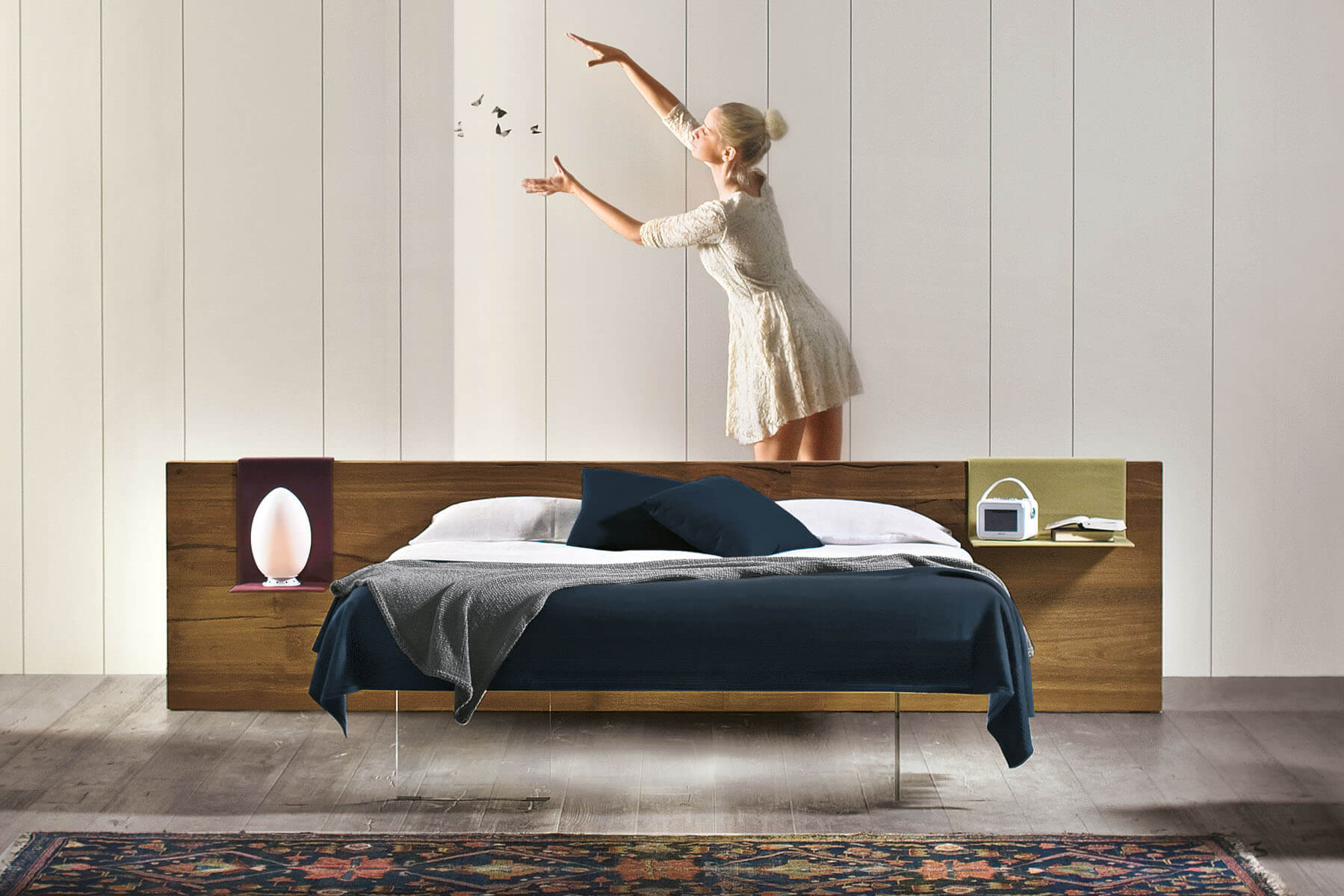Air Bed: a bed with a wooden headboard | LAGO Design