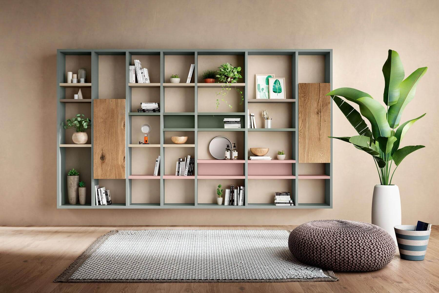 coloured living bookshelf