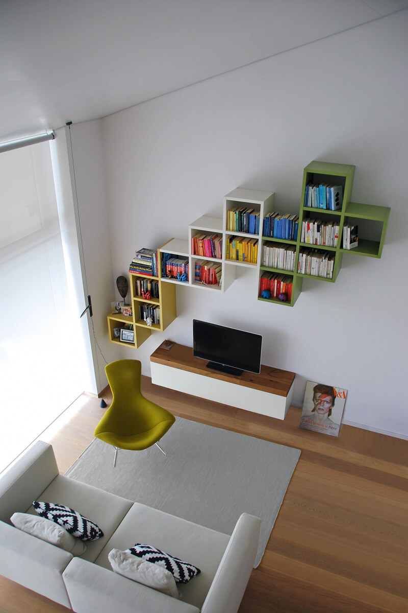 sofa with bookshelf