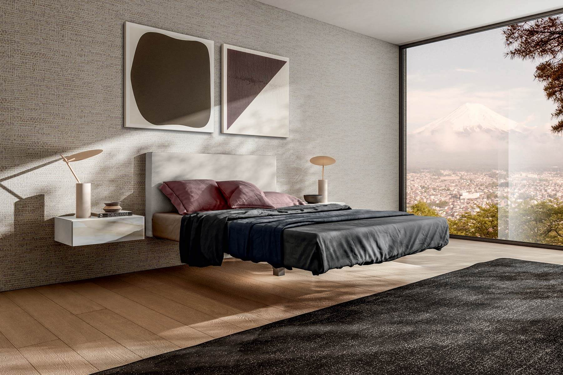 Flutta bed a suspended bed for carefree dreams lago design for Lago furniture