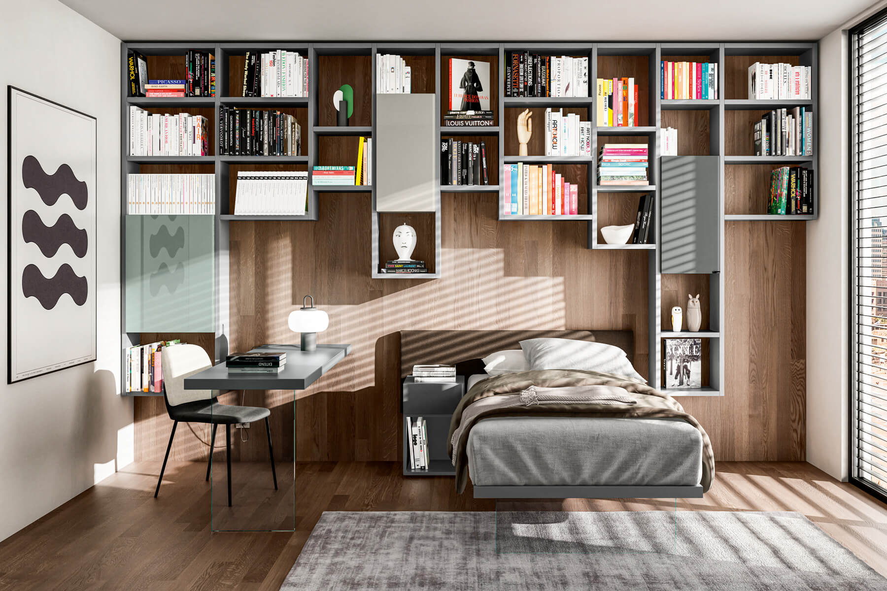 single bed children's room with shelving