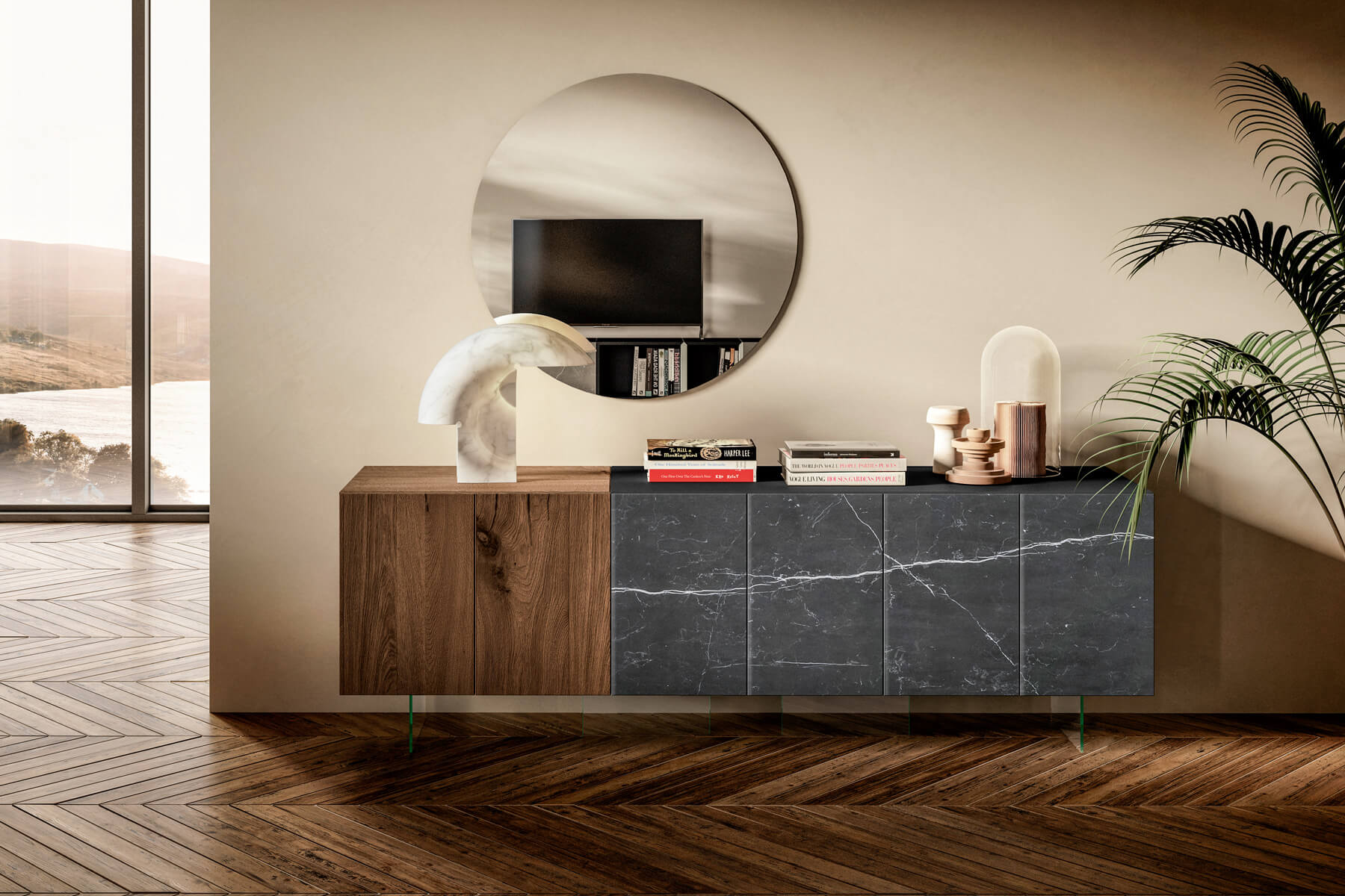 sideboard in wood and glass