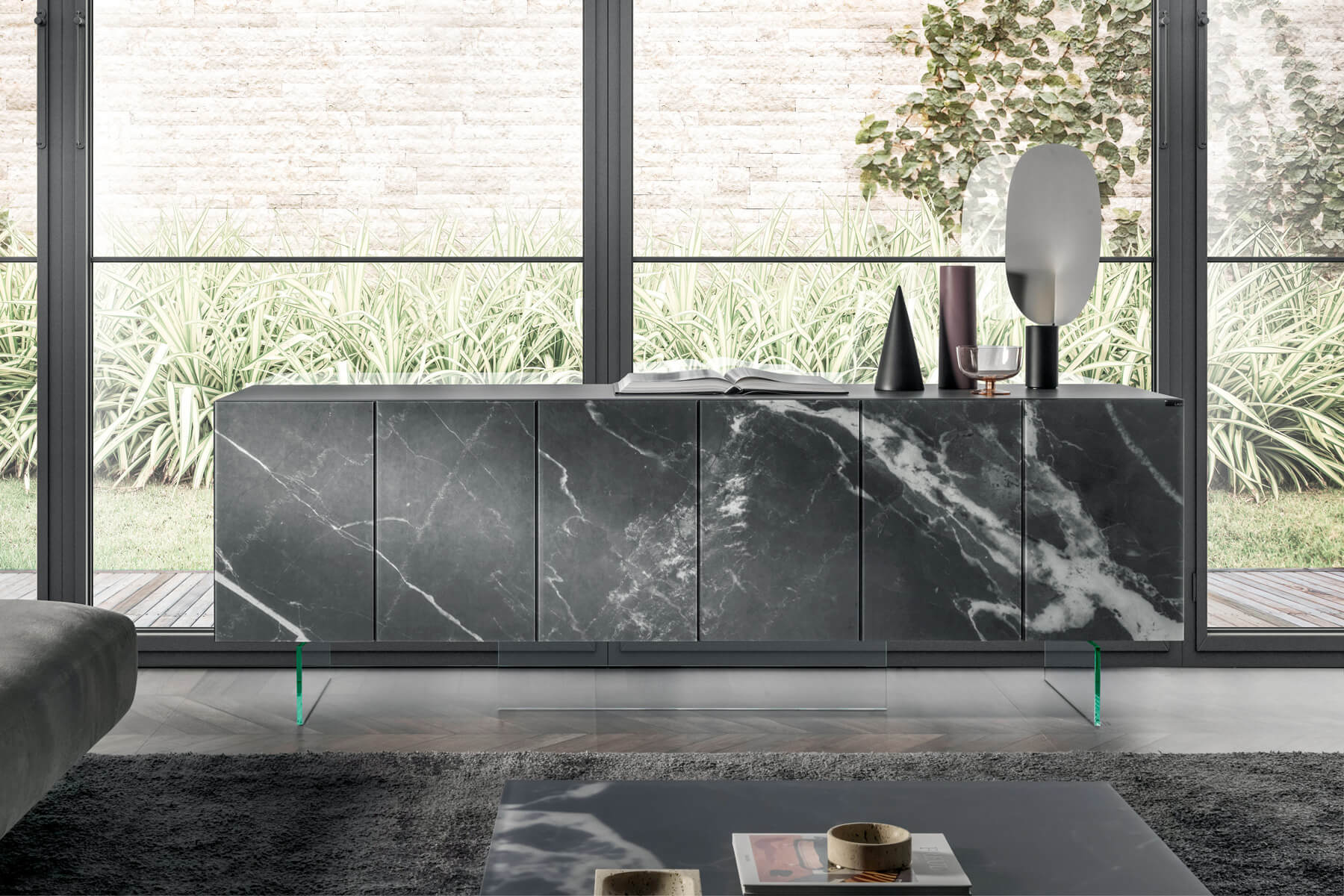 suspended sideboard in glass
