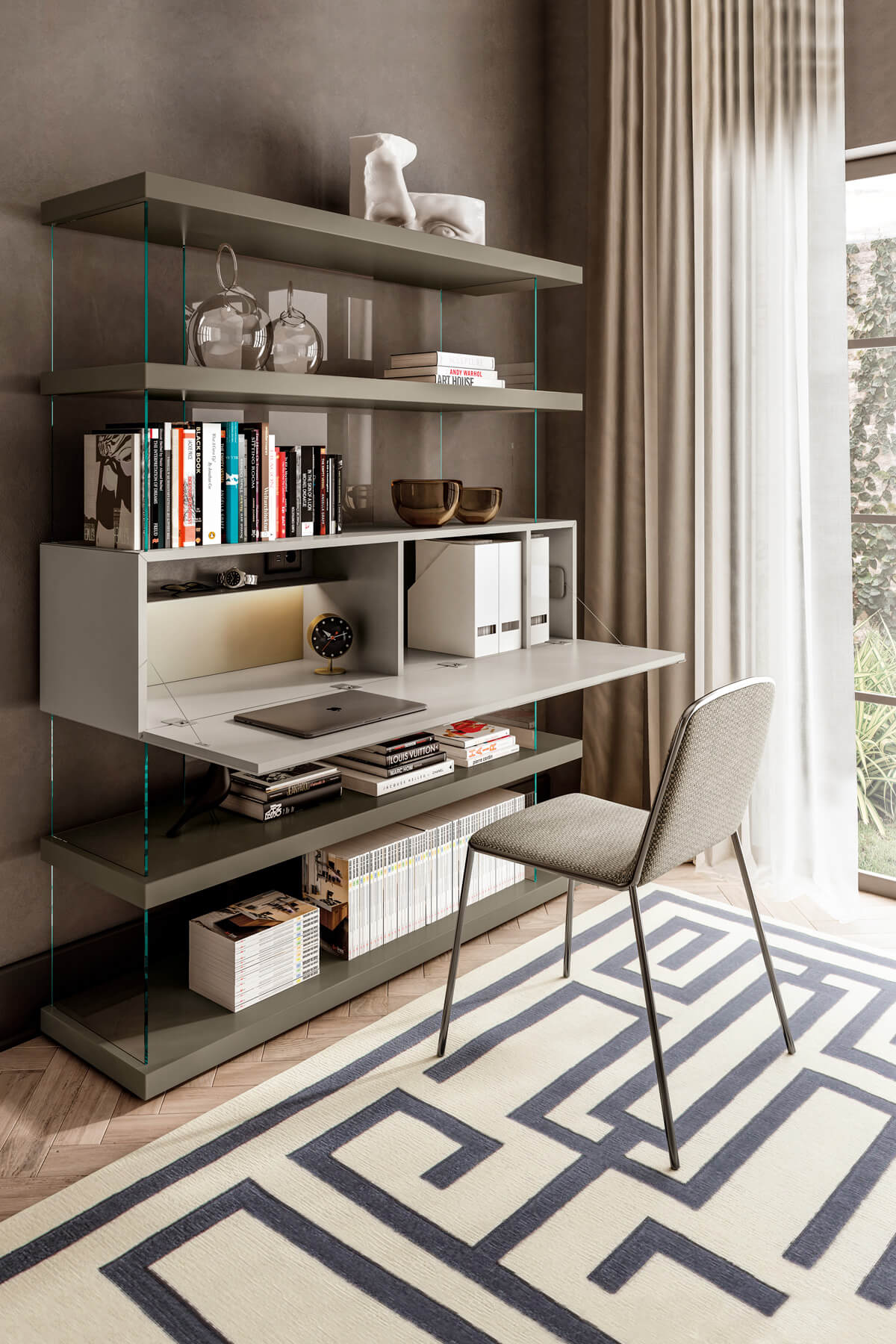 suspended shelving with built in desk