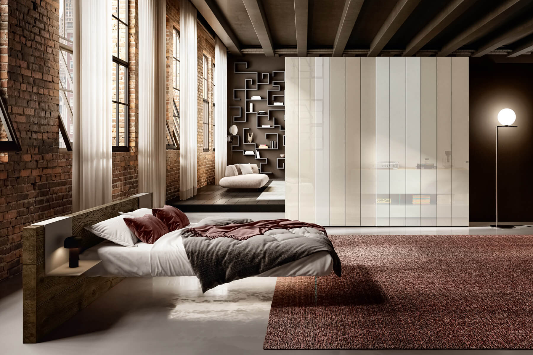 suspended double bed