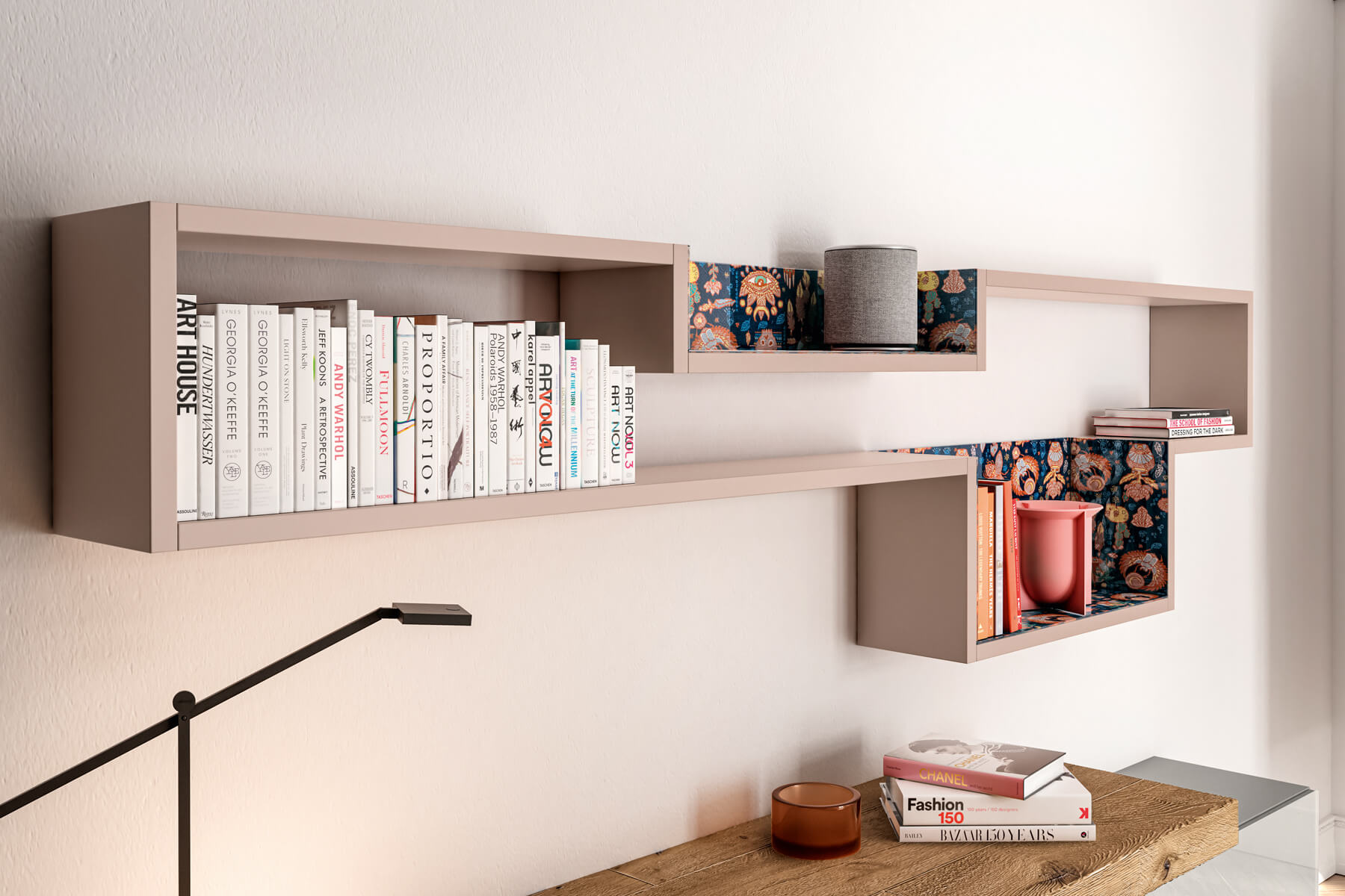 bedroom wall shelving